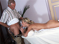 Teen goes from getting her back kneaded to throating the old mans cock