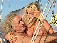 Blonde bombshell deepthroats beef whistle and gets her fuckbox drilled on a boat